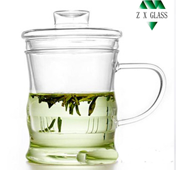 Heat-resistant brosilicate glass tea cup with glass cap / glass cup tea for one / glass cup set with glass infuser /filter