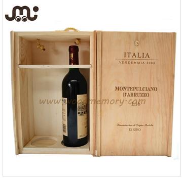 new material high quality custom 2 bottles wooden wine box