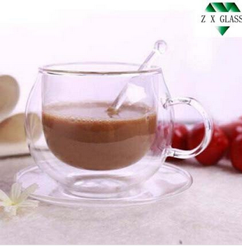 220ml double wall glass coffee cup & saucer set with glass spoon /double wall glass coffee mug &saucer set with glass spoon