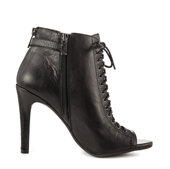 2015 JUSHEE Winter Hot Sale Black Fashion Lace up Peep Toe Sexy High Heel Ankle Boots Girls