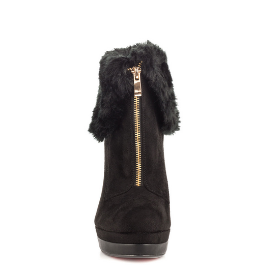 JUSHEE China Wholesale Brown Suede Stiletto Furry Boots for Women 2015