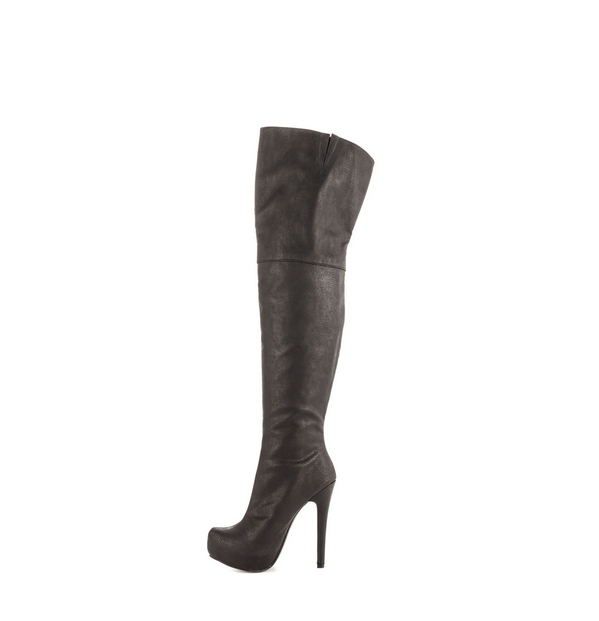 JUSHEE 2015 Winter Factory Price Platform High Heel Black Wholesale Sexy Leather Thigh High Boots for Women