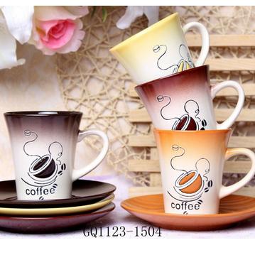 Flexible Choice black flared ceramic mug coffee mug with saucer for sale