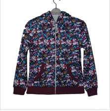 full print women's fleece hoody jacket