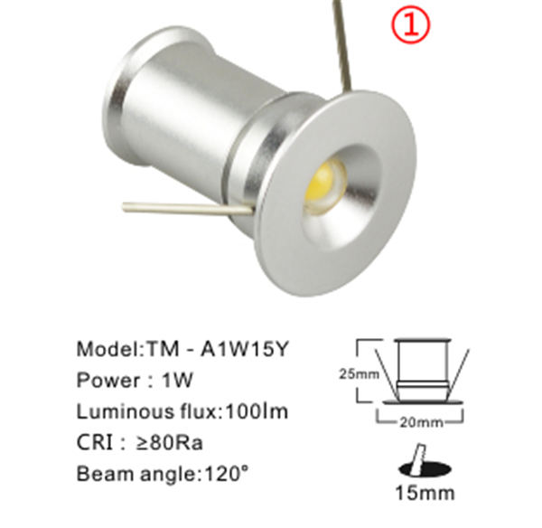 1W-DC12V Recessed Mini LED downlights
