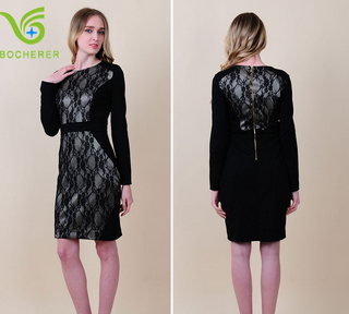 2015 latest designs fashion elegant lace long sleeve waisted dress