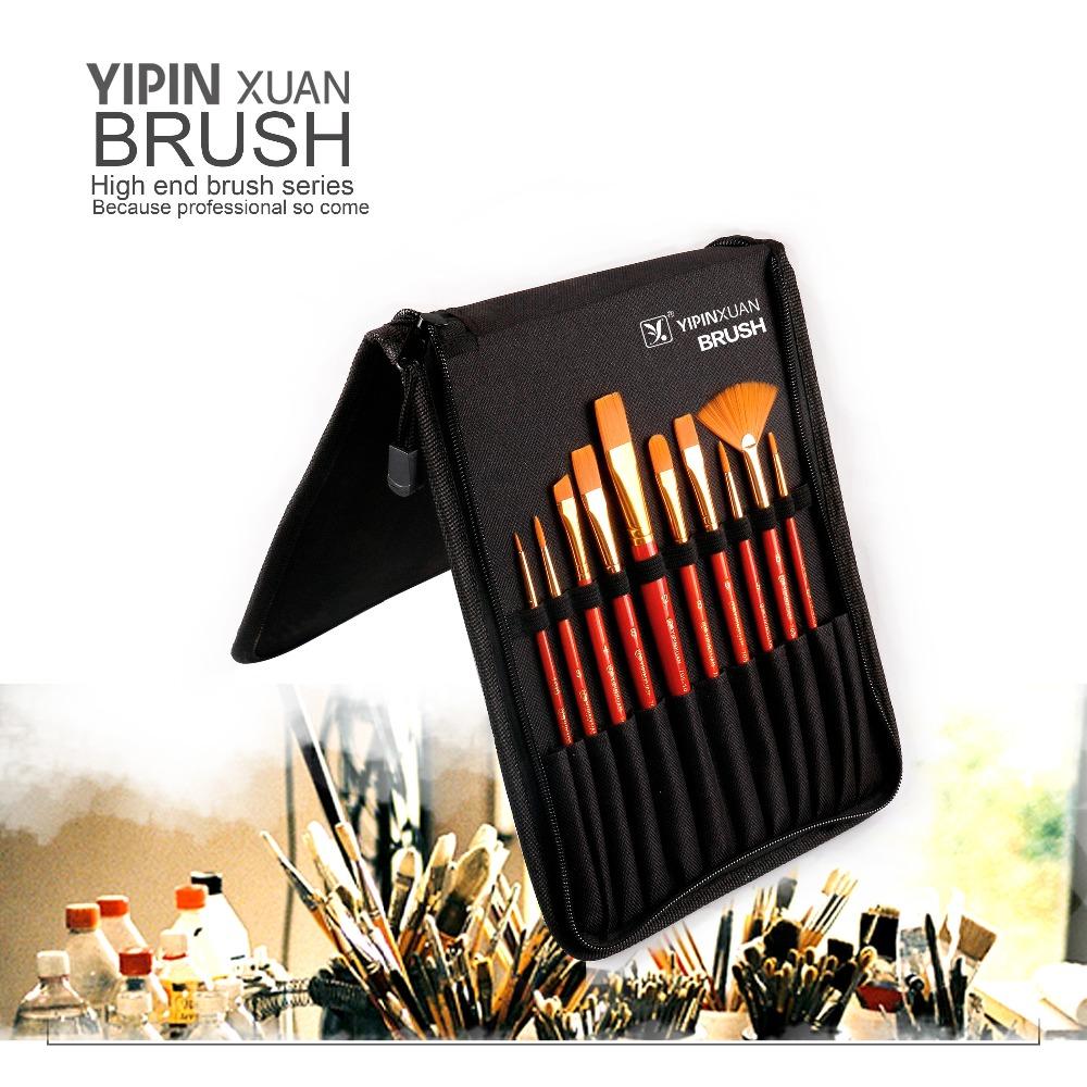 Wholesale 10pcs wooden Handle Nylon Hair Artist Painting Brush