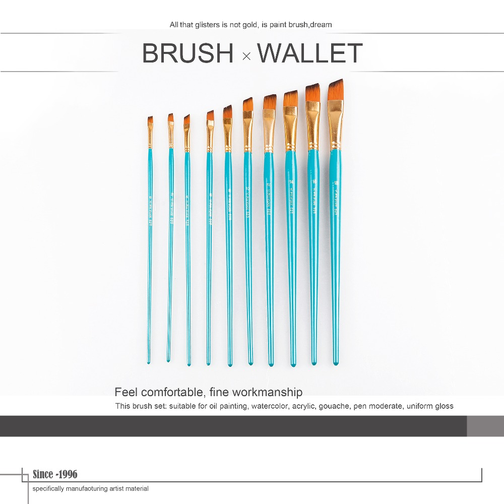 Professional 10pcs wooden Handle Nylon Hair Artist Paint Brush Set