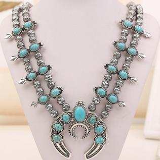 Hot sale squash blossoms turquoise necklace, vintage silver turquoise Squash blossoms jewelry