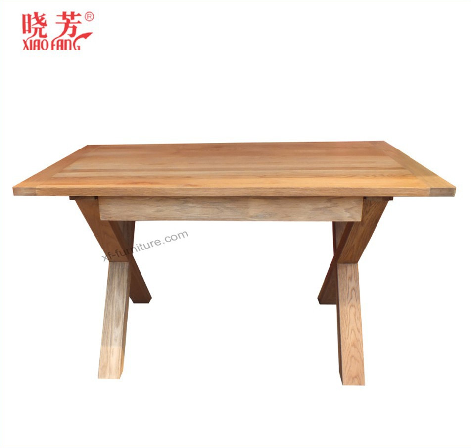 wooden cross legs dining table and chair