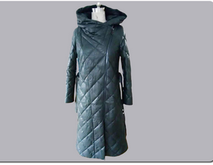 Outdoor Ladies fashion long lamb leather down jacket