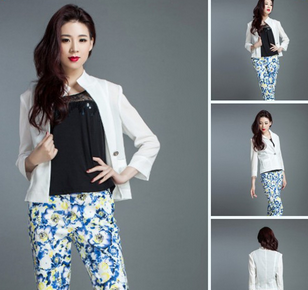 Office white formal lady worker jacket