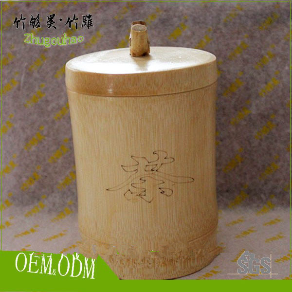 Custom design bamboo tea canister / tea tin