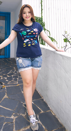 2015 women plus size loose short t shirt for fat women /cute fish print and high quality