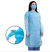 Disposable CPE Gowns, disposable surgical gown,isolation gown,Open Back, Overhead, Thumbloop Cuff,Universal