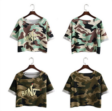 2015 Summer short t shirt for women with full camouflage pattern print wholesale from China