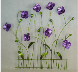 Matel purple flowers on fence metal wall art flower wall art