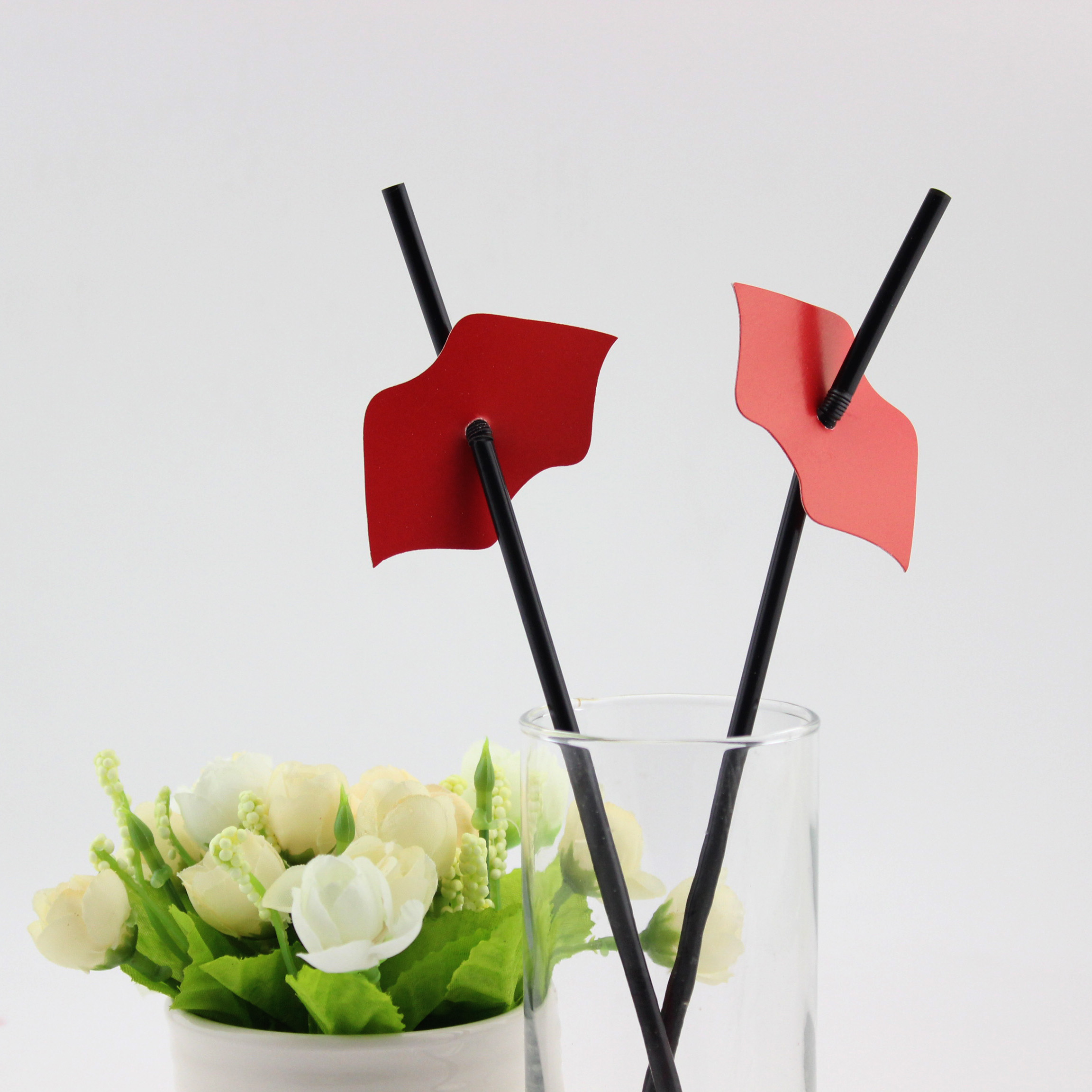 Wedding Party Favor Red Lip Drinking Plastic Straw