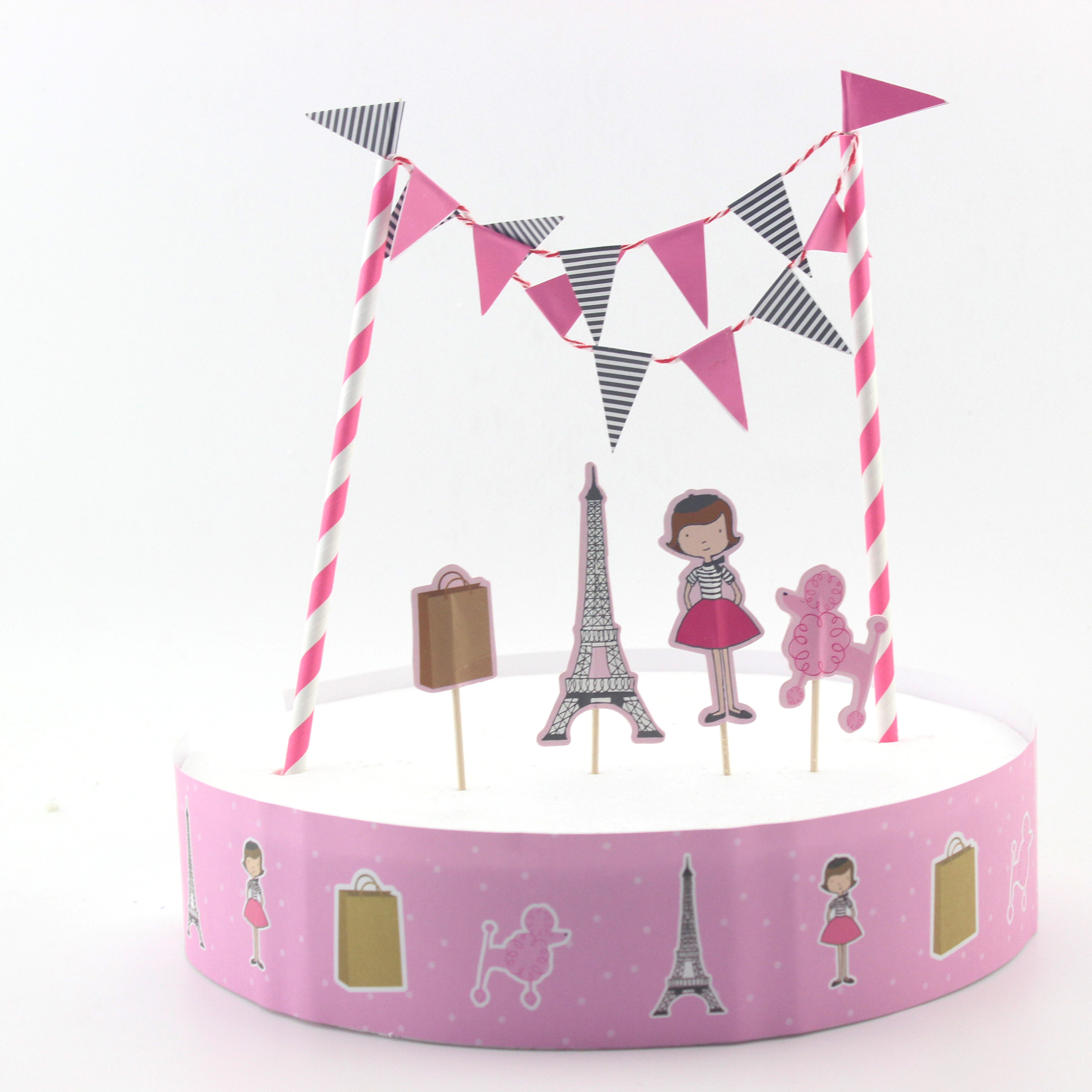 DIY Girls Favor Eiffel Tower Happy Birthday Cake Decoration with cake wrapper flag strew set