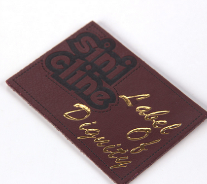 Sinicline new design custom leather label with foil stamping logo