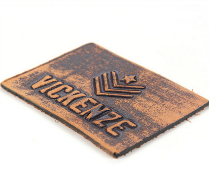 High quality embossed leather tag custom leather patches