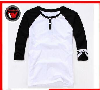 Men's wholesale raglan t shirt, 3/4 sleeve t-shirt