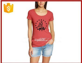 red t shirt with 100% cotton fit silm ladies t shirt