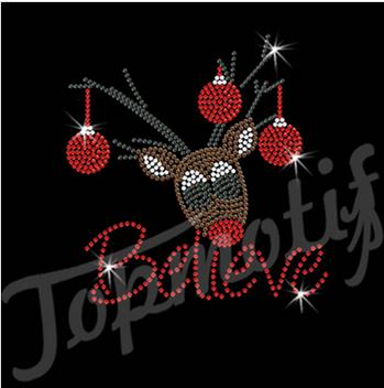 BELIEVE Christmas Deer Rhinestone Transfer For Garment Trimming