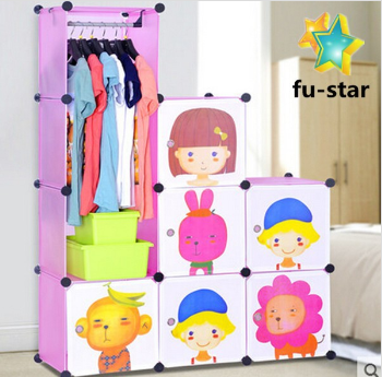 PN cupboard panels plastic kids cute diy bedroom storage shelf units clothes plastic wardrobe cabinet