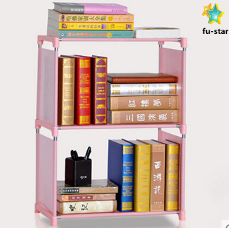 PN Decorative kids storage cabinets metal shelf non-woven cover bookcase