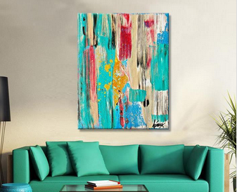 Bathroom Wall Art Colorful Abstract Original Paintings Oil on Canvas