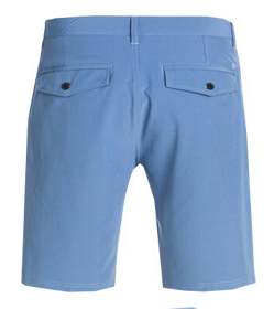 blue solid color cotton polyester casual shorts for men