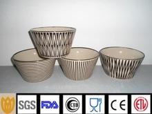 V shape printing ceramic salad bowl