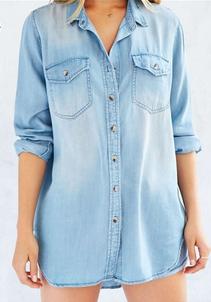 LHH-Machine wash size medium chest 51 length 33 light blue denim shirt