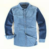 Men's denim shirt slim blue cotton jeans shirt