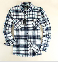 Men shirt fitted flannel plaid shirt black white checked shirt for men