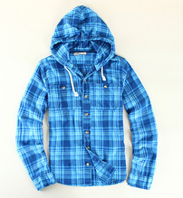 Casual shirt with hood design flannel shirt for man
