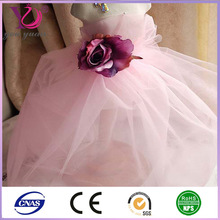 Polyester nylon knit dyed children wedding dress/clothing mesh fabric