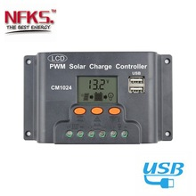 10A PWM Solar Charge Controller 12V 24V Auto Solar Controller with LCD Display