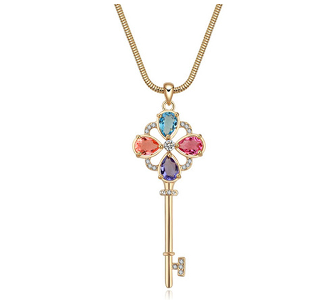 Crystal gold long chain key necklace