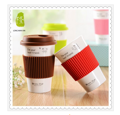 Hot Sale Promotional Large Ceramic Coffee Mug with Silicone Lid and Case