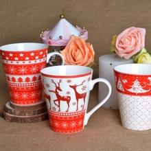 2014 Year Hot Sale 14oz Straight Body Ceramic New Bone China Round Decal Coffee Mug