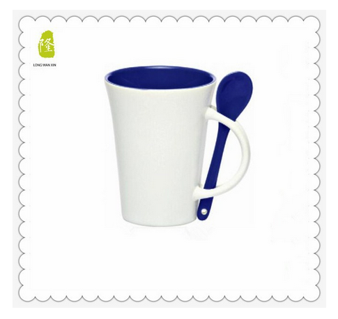 11oz Personalized Two-Tone Coffee Mugs with Spoon