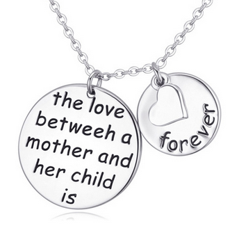 Wholesale the love between a mother and her child is forever Lettering Necklace