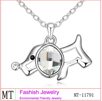 Lovely Crystal Dog Pendant Floating Pendant Necklace