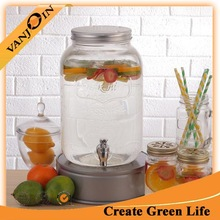 1 Gallon Glass Beverage Drinking Dispenser With Cap and Tap