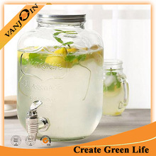 New Design 2 Gallon Glass Mason Jar With Tap For Beverage