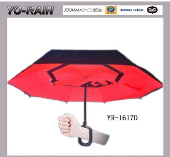Hot selling new design magic hands free umbrella kazbrella inverted upside down reverse umbrella
