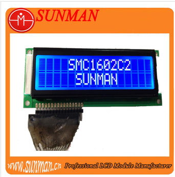 Chinese character lcd module 16x2 with white character and blue background