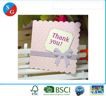 Wholesales customized wave shaped thankful die cut folding gift card